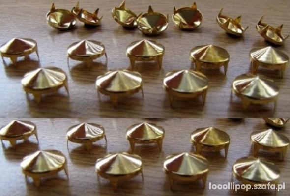 Pozostałe Złote Ćwieki stożki kolce okrągle pukle