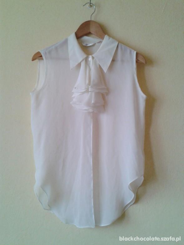 koszula biała mgiełka z żabotem