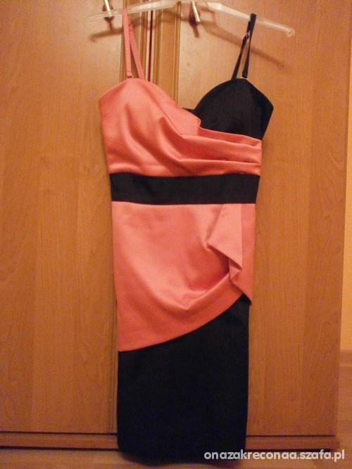łososiowo czarna sukienka M