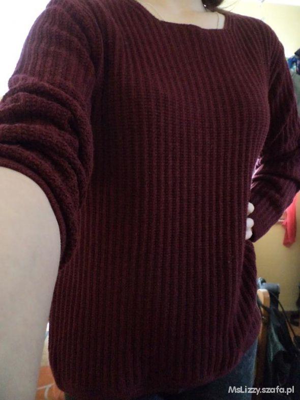 Swetry Burgundowy sweterek gruby splot