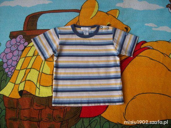 Koszulki, podkoszulki H&M 74 80 Pasiasty tshirt dla maluszka 9 12 mcy