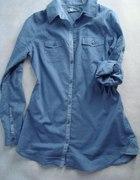 Koszula długa niebieska na guziczki 38 Cropp