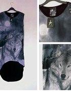 Bluzka z wilkiem motyw zwierzęcy L