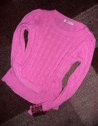 GINA TRICOT XS różnowy pink sweter neon warkocze