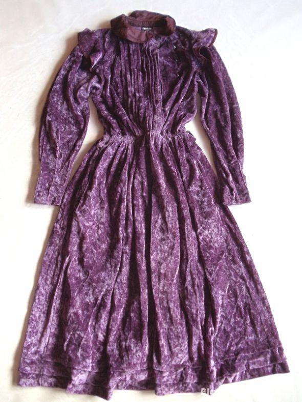 Elkont welurowa sukienka maxi gotycka victorian
