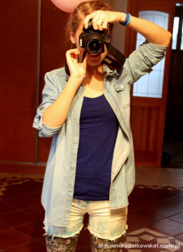 Mój styl Połączenie koszuli jeansowej z shortami ombre