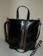 torebka shopper bag ćwieki czarna złote ćwieki XL