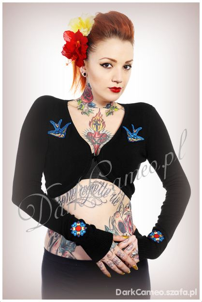 Bolerko JASKÓŁKI Pin up Rockabilly DarkCameo