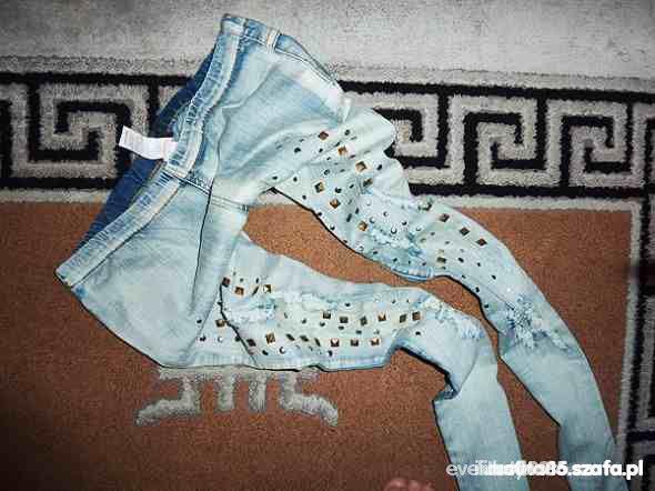 tregginsy jeansy z ćwiekami