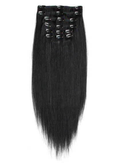 Ozdoby na włosy Clip In zestaw naturalne 53cm czern