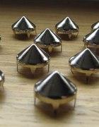 srebrne Ćwieki stożki kolce okrągle śr 12mm 10mm