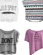 Bluzki koszulki oversize krótkie