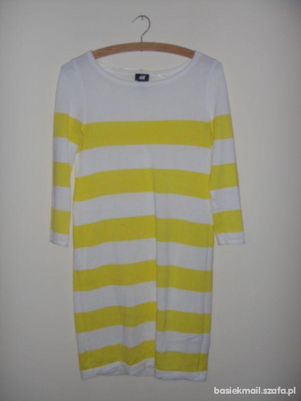 H&M tuniko sukienka w paski pasiak zolty oversize