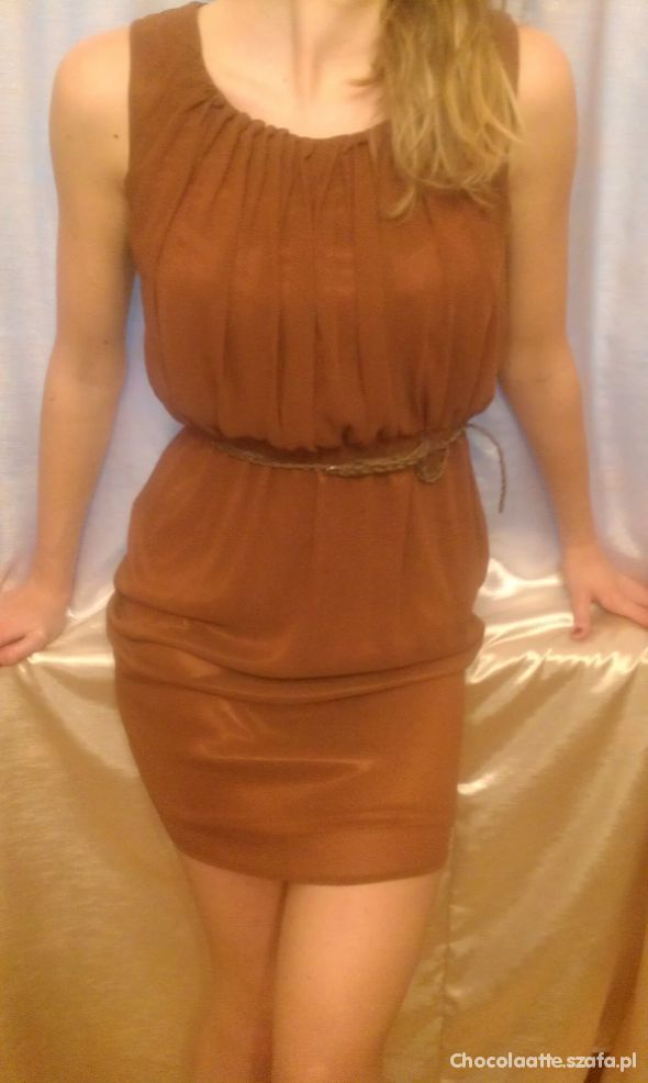 karmelowa sukienka HM