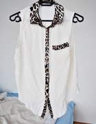 bluzka panterka lamowka koszula S