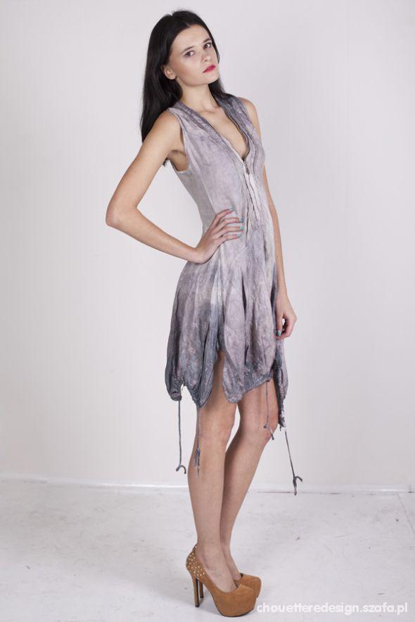 Eleganckie ręcznie farbowana lniana sukienka chouette