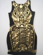 modna sukienka złoto czarna