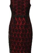 czerwona sukienka orsay z czarną koronką...