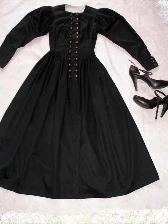 nowa czarna sukienka drindl tyrol gothic S XS