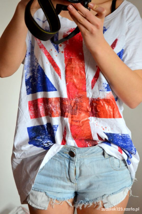 T shirt z flagą oversize