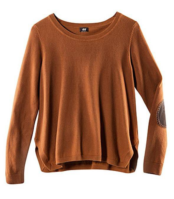 HM pleciony sweter łaty KARMEL łokcie LANA 36