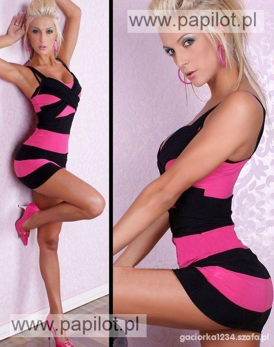 różowo czarna sukienka w paski