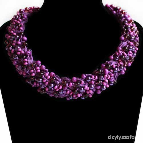 8b73e063b9aa Biżuteria z lnu lniany naszyjnik warkocz fioletowy w Naszyjniki ...
