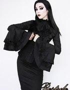 Punk rave czarna koszula żabot i szerokie rękawy...