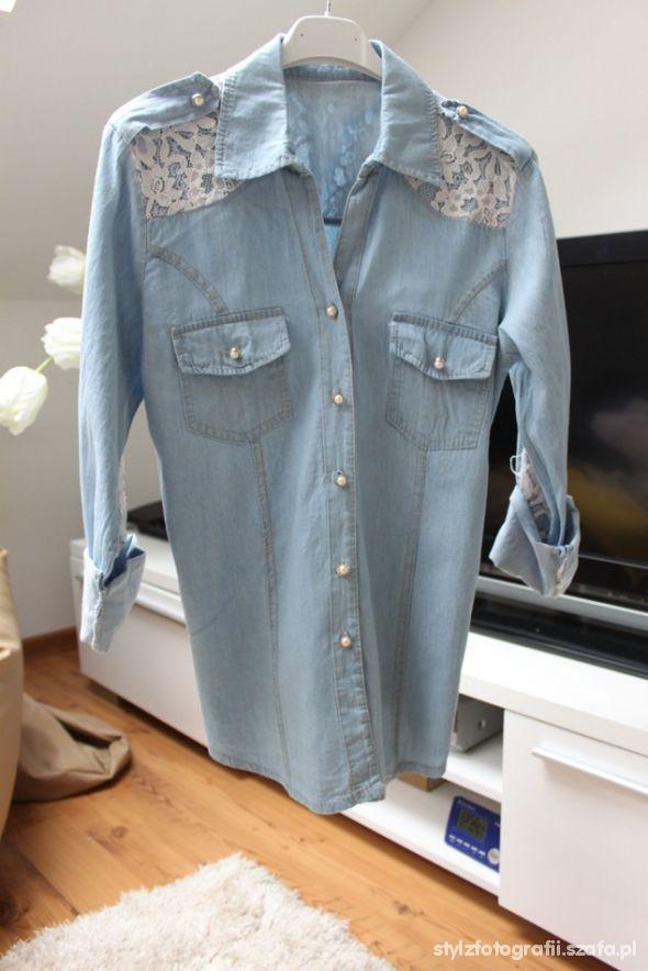 nowa jeansowa koronka koszula podwijane rekawy