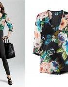 Koszula mgiełka H&M kwiaty 34
