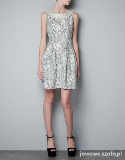 Suknie i sukienki ZARA koronkowy TULIPAN z kamieniami KOLIA