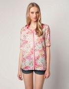 Koszula BERSHKA różowa kwiaty...