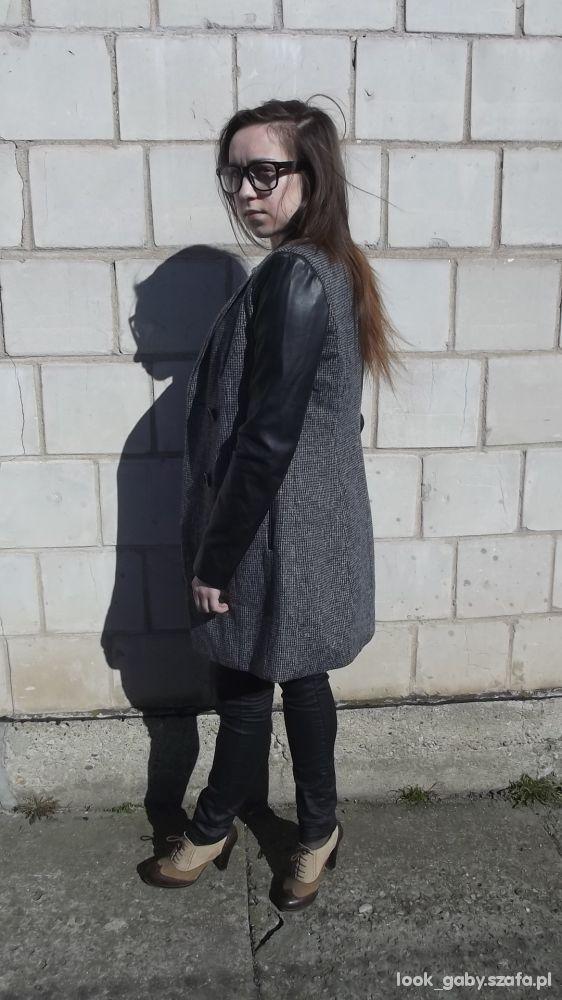 Mój styl Płaszcz z rękawami ze skóry ekologicznej