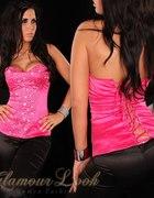 różowy gorsecik bluzka wiązany...