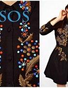 Sukienka czarna haftowana ASOS...