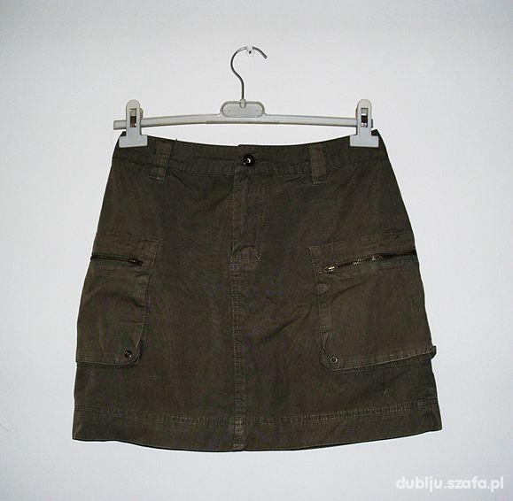 military H M 36 khaki spódnica mini kieszenie ćwie w