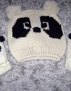 PANDA czapka beżowa komplet z rękawiczkami