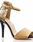 Sandałki 38 SZPILKI cieliste GOLD NUDE