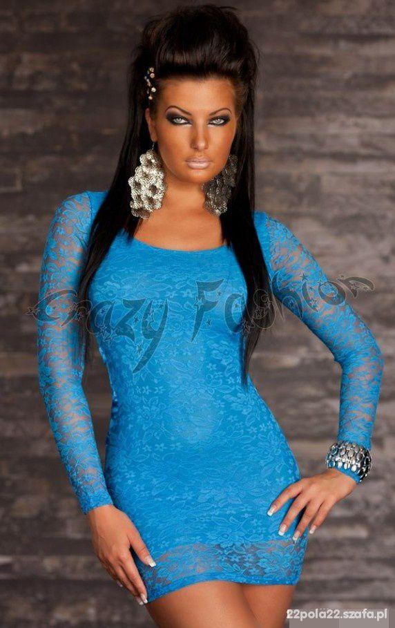 f269ef3ca3 Suknie i sukienki 45zł Niebieska Sukienka Koronkowa r38 z perełkami