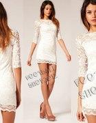 biała koronkowa mini sukienka