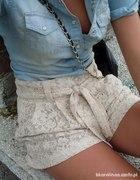 koszula jeansowa szorty koronkowe