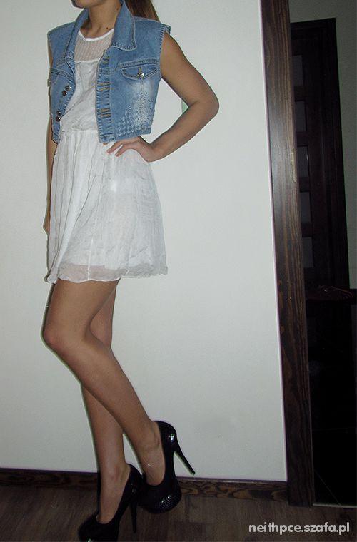 Romantyczne Letnia sukienka i jeansowa kamizelka