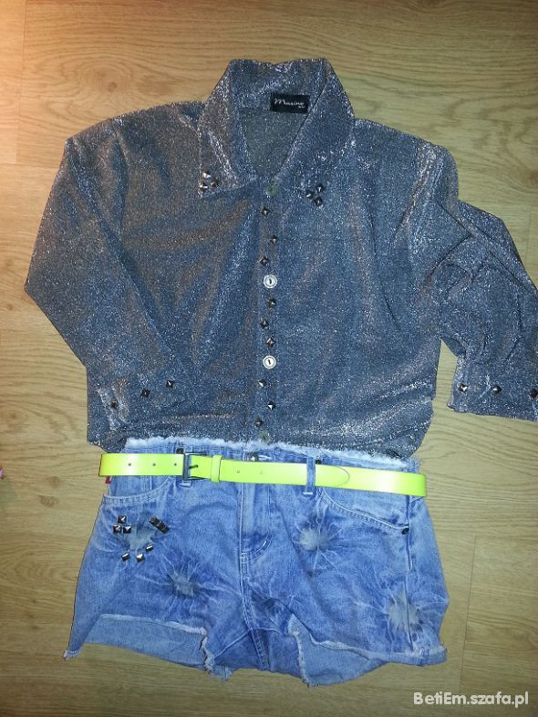 Mój styl Koszula spodeni neonowy pasek