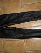 Spodnie legginsy H&M skórzane skóra przeszycia zip