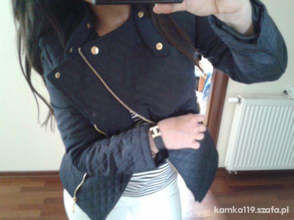 Mój styl Ramoneska pikowana granat złote wstawki