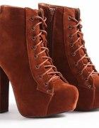 Rust Colour Suede Platform Boots Shoes