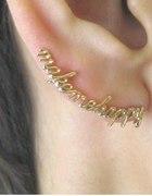 nausznica makemehappy earcuff napis pozłacana