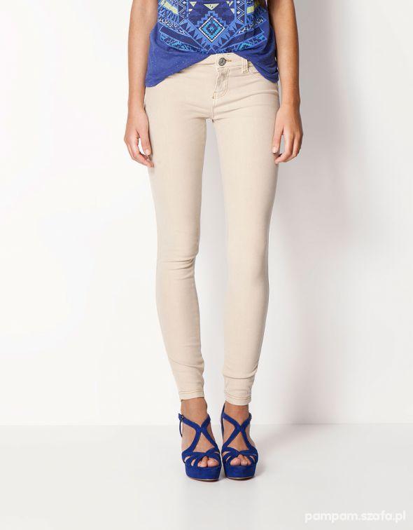 Beżowe spodnie cygaretki rurki s xs firmowe