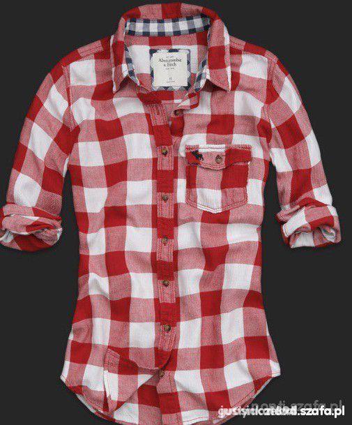 koszula w krate h&M abercrombie czerwona krata