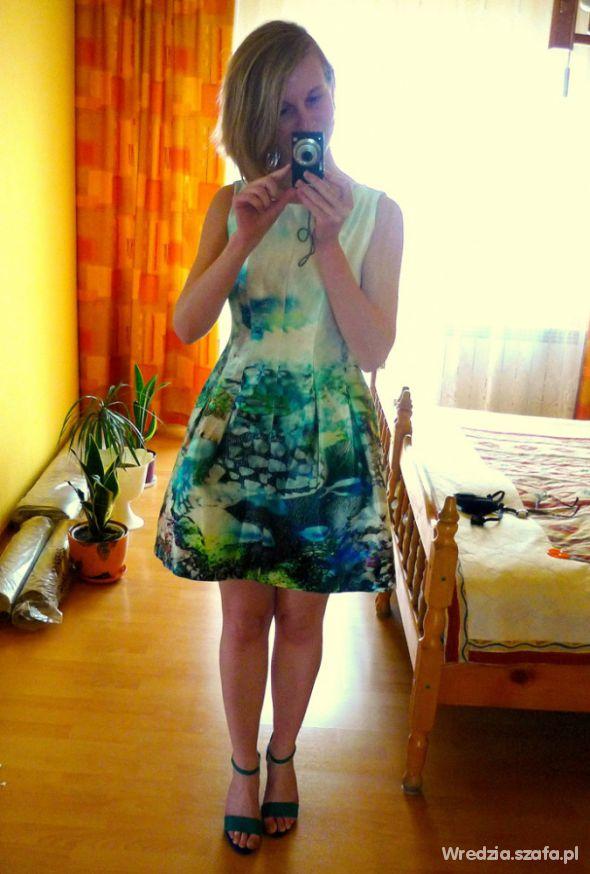 Na specjalne okazje Sukienka Zara Fish Print Aquamarine